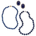 Estate Jewelry:Lots, Lapis Lazuli, Gold Sterling Silver Jewelry. ... (Total: 3 Items)