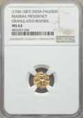 India:British India, India: British India. Madras Presidency gold Pagoda ND (1740-1807) MS62 NGC,...