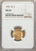 Liberty Quarter Eagles: , 1906 $2 1/2 MS66 NGC. NGC Census: (265/80). PCGS Population: (286/81). MS66. Mintage 176,300. ...