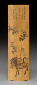 Carvings, A Chinese Etched Bamboo Wrist Rest, early 20th century. 6-1/2 x 1-3/4 x 0-1/2 inches (16.5 x 4.4 x 1.3 cm). ...