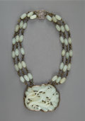 Carvings, A Chinese Silver and Carved Pale Celadon Jade Necklace, Qing Dynasty. Marks: NO 23, SILVER, CHINA. 9-1/4 x 2-7/8 x 2-1/8...