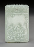 Carvings, A Chinese Carved White Jade Plaque, Qing Dynasty, 19th century. 2-7/8 x 1-7/8 inches (7.3 x 4.8 cm). ...