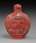 Carvings, A Chinese Carved Cinnabar Lacquer Snuff Bottle, late Qing Dynasty. 3 inches (7.6 cm). PROPERTY FROM A SOUTHERN CALIFORNIA ...