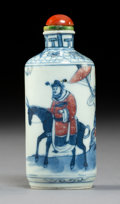 Ceramics & Porcelain:Chinese, A Chinese Blue and Copper Red Porcelain Snuff Bottle, 19th century . Marks: Six-character Yongzheng mark in underglaze blue ...