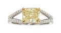Estate Jewelry:Rings, Fancy Deep Yellow Diamond, Diamond, White Gold Ring. ...