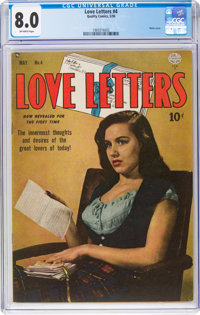 Love Letters #4 (Quality, 1950) CGC VF 8.0 Off-white pages