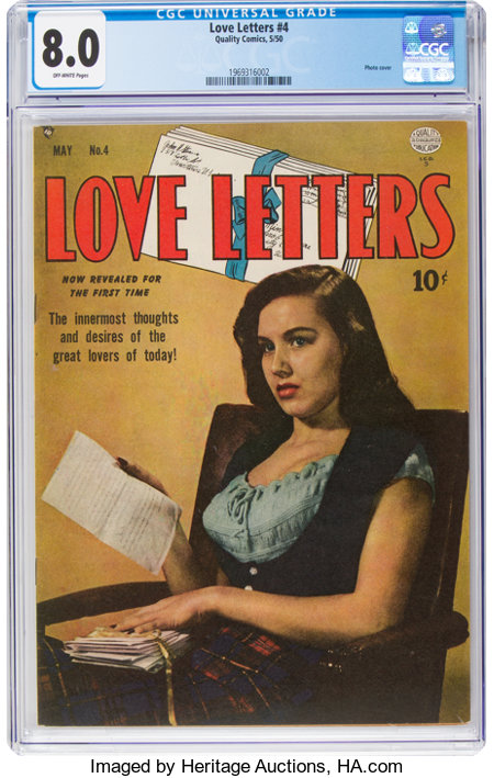 Love Letters #4 (Quality, 1950) CGC VF 8.0 Off-white pages....