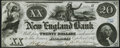 Obsoletes By State:Maine, Fairmount, ME- New England Bank $20 Oct. 1, 1857 Crisp Uncirculated.. ...
