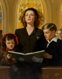 Andrew Loomis (American, 1892-1959) A Reading at Church Oil on canvas 35.75 x 28 in. Signed lower right  The IRI