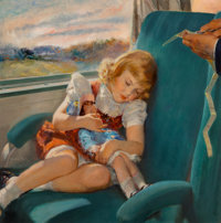 Roy Frederick Spreter (American, 1899-1967) Asleep on a Train Oil on canvas 24 x 24 in. Signed