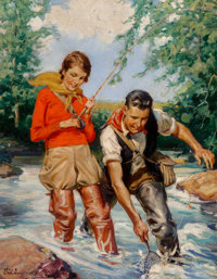 Ray C. Strang (American, 1893-1957) Trout Fishing Oil on canvas 34 x 26.5 in. Signed lower lef