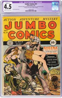 Jumbo Comics #41 (Fiction House, 1942) CGC Apparent VG+ 4.5 Slight (C-1) Cream to off-white pages