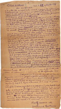 """Books:Manuscripts, [Cubism]. Guillaume Apollinaire. Autograph Letter Signed.""""Guillaume Apollinaire."""" One page in French on t..."""