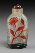 Glass:Chinese, A Chinese Four-Color Glass Overlay Snuff Bottle, late Qing Dynasty. 3-1/2 inches (8.9 cm). PROPERTY FROM A SOUTHERN CALIFO...