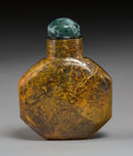 Carvings:Chinese, A Chinese Faceted Mottled Agate Snuff Bottle, Qing Dynasty. 2-3/4 inches (7.0 cm). PROPERTY FROM A SOUTHERN CALIFORNIA COL...