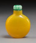 Glass:Chinese, A Chinese Yellow Peking Glass Snuff Bottle, 18th-19th century. 2-3/4 inches (7.0 cm). PROPERTY FROM A SOUTHERN CALIFORNIA ...