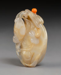 A Chinese Carved Agate Bat and Lingzhi Snuff Bottle, 19th century 1-1/2 x 2-1/2 x 1/2 inches (3.8 x 6.4 x 1.3