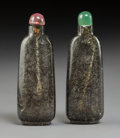Carvings:Chinese, A Pair of Chinese Carved Black Rutilated Quartz Snuff Bottles, . Qing Dynasty. 2-3/4 inches (7.0 cm) (each). PROPERTY FROM... (Total: 2 Items)