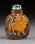 Carvings, A Chinese Carved Agate Camel and Rider Snuff Bottle, Qing Dynasty. Marks to stopper: (assay characters). 2-7/8 x...