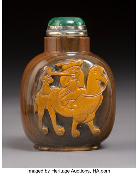 A Chinese Carved Agate Camel and Rider Snuff Bottle, Qing