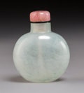 Carvings, A Chinese Pale Agate Snuff Bottle, Qing Dynasty. 2-3/8 x 1-7/8 x 1-1/8 inches (5.9 x 4.8 x 2.9 cm). PROPERTY FROM A SOUTHE...