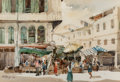 Paintings:Chinese, Kim Seng Ohg (Singapore, b. 1945). Market Scene, 1979. watercolor on paper. 14-1/4 x 21 inches (36.2 x 53.3 cm). Signed ...