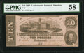 Confederate Notes:1862 Issues, T52 $10 1862 PMG Choice About Unc 58.. ...