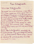 "Books:Manuscripts, Émile Bernard. Autograph Letter Signed. ""Emile."" Two pagesin French, 4"" x 5.25"", [n.p.; n.d.]. ..."