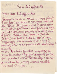 "Émile Bernard. Autograph Letter Signed. ""Emile."" Two pages in French, 4"" x 5.25"", [n.p.; n.d..."