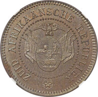 South Africa: Transvaal. Republic bronze Proof Pattern 2 Pence 1874 PR65 Brown NGC