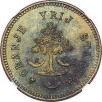 South Africa: Orange Free State. Republic bronze Pattern Penny 1874 MS65 Brown NGC