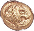 Ancients:Greek, Ancients: LYDIAN KINGDOM. Alyattes or Walwet (ca. 610-546 BC). EL third-stater or trite (14mm, 4.72 gm). NGC AU 5/5 - 4/5. ...