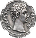 Ancients:Roman Imperial, Ancients: Augustus (27 BC-AD 14). AR denarius (18mm, 3.98 gm, 5h). NGC Choice XF★ 5/5 - 5/5. Fine Style....