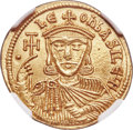 Ancients:Byzantine, Ancients: Leo V the Armenian (AD 813-820) with Constantine. AV solidus (22mm, 4.47 gm, 7h). NGC MS 4/5 - 4/5. ...