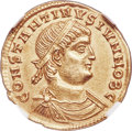 Ancients:Roman Imperial, Ancients: Constantine II, as Caesar (AD 337-340). AV solidus (22mm, 4.44 gm, 6h). NGC Choice AU 5/5 - 4/5....
