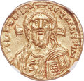 Ancients:Byzantine, Ancients: Justinian II, first reign (AD 685-695). AV solidus (19mm, 4.44 gm, 6h). NGC MS 5/5 - 4/5....