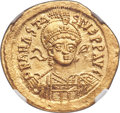Ancients:Byzantine, Ancients: Anastasius I (AD 491-518). AV solidus (21mm, 4.48 gm, 6h). NGC Choice MS 5/5 - 5/5....