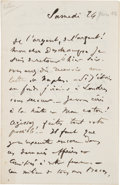 Books:Manuscripts, Edgar Degas. Autograph Letter Signed.. ...