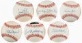 Autographs:Baseballs, Hall of Fame Sluggers Single Signed Baseball lot of 6.... (Total: 7 items)