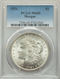 Morgan Dollars, 1921 $1 MS65 PCGS. PCGS Population: (5829/722). NGC Census: (9512/671). CDN: $100 Whsle. Bid for problem-free NGC/PCGS MS65...