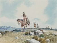 Robert Pummill (American, b.1936) In Search of the Herd Watercolor on paper 11-3/4 x 15-3/4 inche