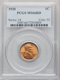 Lincoln Cents: , 1928 1C MS66 Red PCGS. PCGS Population: (427/68). NGC Census: (96/12). CDN: $210 Whsle. Bid for problem-free NGC/PCGS MS66....