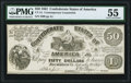 Confederate Notes:1861 Issues, CT14/75D Counterfeit $50 1861 PMG About Uncirculated 55.. ...