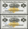 Obsoletes By State:Nevada, Austin, NV- Manhattan Silver Mining Co. $1 187_ Remainders Two Examples Crisp Uncirculated.. ... (Total: 2 notes)