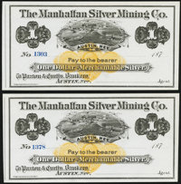 Austin, NV- Manhattan Silver Mining Co. $1 187_ Remainders Two Examples Crisp Uncirculated. ... (Total: 2 notes)