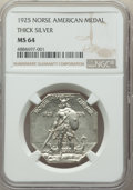 1925 Medal Norse, Thick Planchet, MS64 NGC. NGC Census: (374/240). PCGS Population: (506/302). MS64. Mintage 31,750