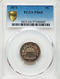 Proof Shield Nickels: , 1871 5C PR65 PCGS. PCGS Population: (98/42). NGC Census: (85/29). CDN: $725 Whsle. Bid for problem-free NGC/PCGS PR65. Mint...