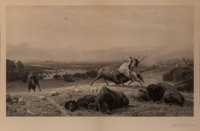 After Albert Bierstadt (American, 1830-1902) The Last of the Buffalo Photogravure on paper laid on b