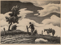Thomas Hart Benton (American, 1889-1975) The Fence Mender, 1941 Lithograph in colors on paper 10