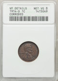 Lincoln Cents, 1914-D 1C -- Corroded -- ANACS. VF Details, Net VG8. CDN: $125 Whsle. Bid for problem-free NGC/PCGS VG8 . Mintage 1,193,000...